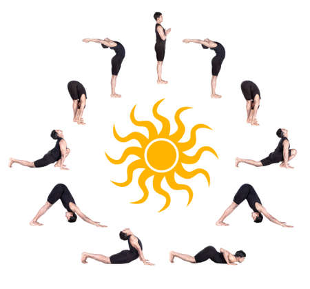 sequence: Indian man in black costume doing ten steps of surya namaskar, sun salutation Exercise at white background with the sun in the center