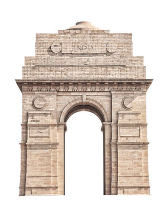 India Gate located in New Delhi isolated on white background photo