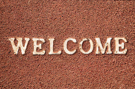 welcome mat: Welcome title on the doormat. Free space for your text