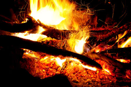 Bonfire with flame close up at night time Stock Photo - 14573866