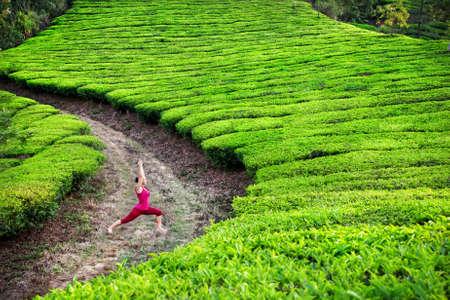 Yoga virabhadrasana I warr pose by woman in red cloth on tea plantations in Munnar hills, Kerala, India Stock Photo - 14625053