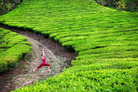 Yoga virabhadrasana I warrior pose by woman in red cloth on tea plantations in Munnar hills, Kerala, India photo