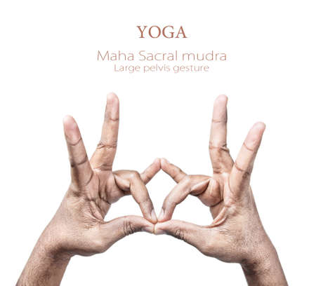 sacral: Hands in maha sacral mudra by Indian man isolated on white background. Free space for your text