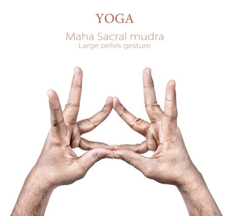 yogi: Hands in maha sacral mudra by Indian man isolated on white background. Free space for your text