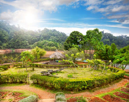Green garden and summer house in Periyar wildlife sanctuary in Kerala, India photo