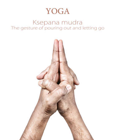 kathakali: Hands in Ksepana mudra by Indian man isolated on white background. Free space for your text Stock Photo