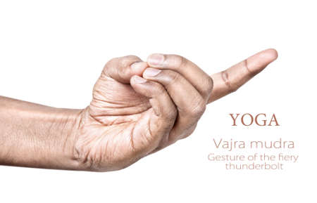 pranayama: Hand in vajra mudra by Indian man isolated at white background. Gesture of the fiery thunderbolt. Free space for your text