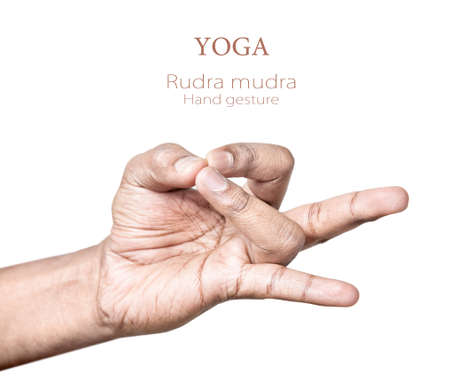 Hands in rudra mudra by Indian man isolated on white background. Free space for your text photo