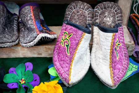 issyk kul: Ethnic slippers at the market in central Asia