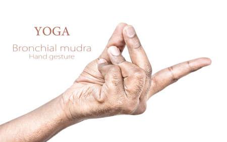 paz interior: Las manos en mudra bronquial por el hombre indio aislado en el fondo blanco. Espacio libre para el texto