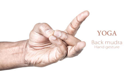 sacral symbol: Hands in back mudra by Indian man isolated on white background. Free space for your text