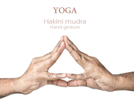 Hands in hakini mudra by Indian man isolated on white background. Hakini is god of the forehead chakra. Free space for your text photo