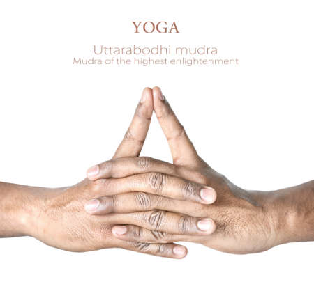 Hands in Uttarabodhi mudra by Indian man isolated at white background. Mudra of the highest enlightenment.