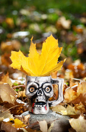 Skull mug with yellow maple leaf at autumn background on Halloween photo