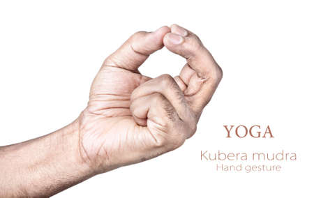 inner peace: Hands in kubera mudra by Indian man isolated on white background. Free space for your text Stock Photo