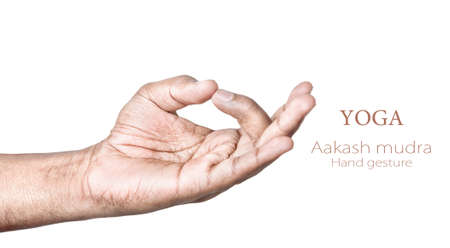 mudra: Hands in aakash mudra by Indian man isolated on white background. Free space for your text
