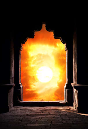Indian arch silhouette in old temple at dramatic orange sunset sky background. Free space for text Stock Photo - 16195983