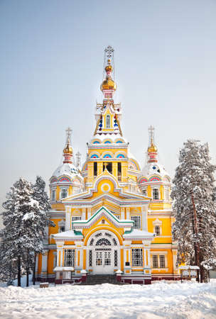 The Ascension Cathedral or Zenkov cathedral in winter time in Almaty, Kazakhstan  photo