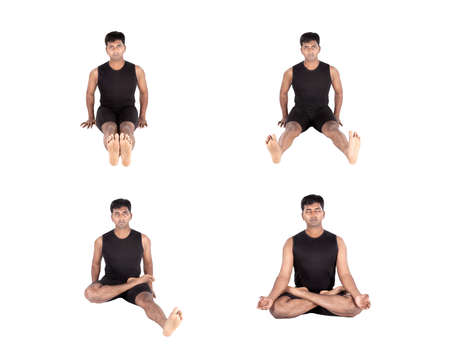 padmasana: Indian man in black costume doing padmasana lotus pose step by step isolated on white background