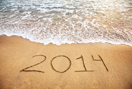 2014 year on the sand beach near the ocean photo