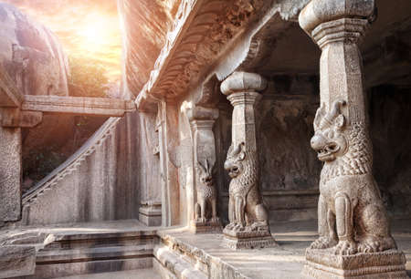 Ancient cave with animal column in Mamallapuram, Tamil Nadu, India photo