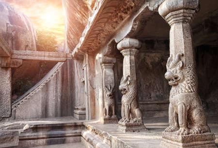 mamallapuram: Ancient cave with animal column in Mamallapuram, Tamil Nadu, India