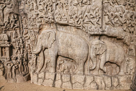 mamallapuram: Ancient basrelief of Elephants and another hindu deities in Mamallapuram, Tamil Nadu, India Stock Photo