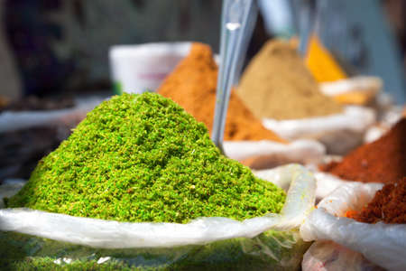 Indian colored spices at Anjuna flea market in Goa, India Stock Photo - 19263348