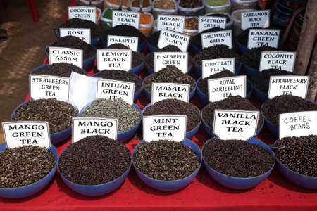 Indian tea and spices at Anjuna flea market in Goa, India photo