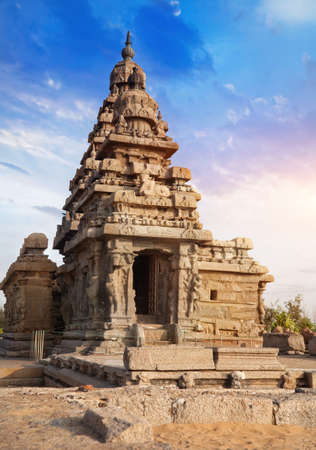mamallapuram: Shore temple at blue sky in Mamallapuram, Tamil Nadu, India Stock Photo