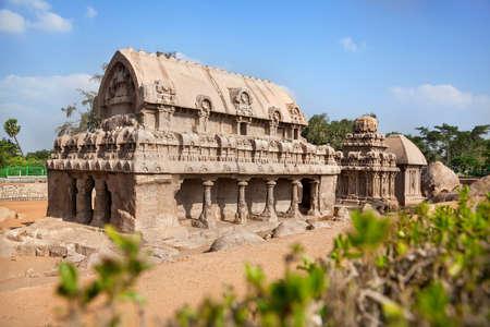 mamallapuram: Five rathas temple complex at blue sky in Mamallapuram, Tamil Nadu, India