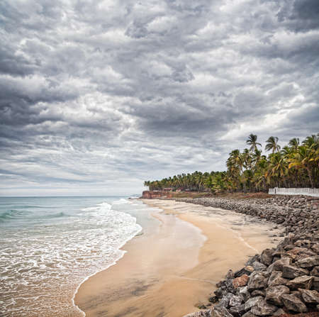 Tropical beach and coconut palm trees near the blue ocean at overcast dramatic sky in Varkala, Kerala, India photo