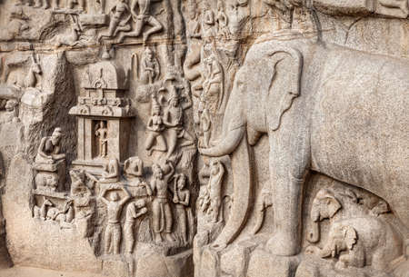 mamallapuram: Ancient basrelief of Elephants and another hindu deities in Mamallapuram, Tamil Nadu, India Stock Photo