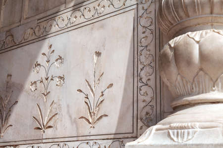 Ethnic floral ornament on the marble wall in Red Fort, Old Delhi, India Stock Photo - 20099700
