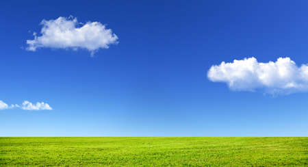 Green grass and blue sky with white clouds Banco de Imagens