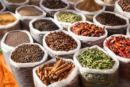 Indian spices in Anjuna flea market, Goa, India photo