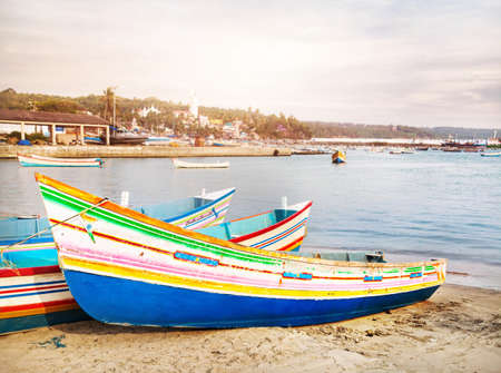 kovalam: Fisherman boats on the beach in Kovalam, Kerala, India