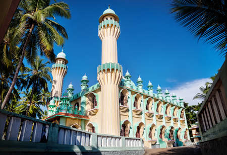 varkala: Mosque and palm trees around at blue sky in Varkala, Kerala, India Stock Photo