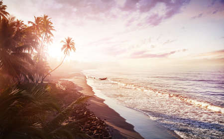 Tropical beach with coconut palm trees near the blue ocean in the morning in Kerala, India photo