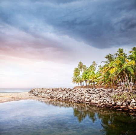 varkala: Tropical beach with coconut palm trees near the blue ocean at overcast dramatic sky in Varkala, Kerala, India