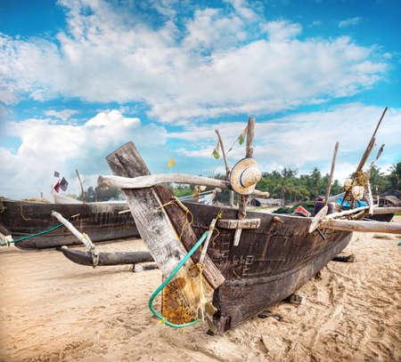 Fisherman boats on the Gokarna beach in Karnataka, India   photo
