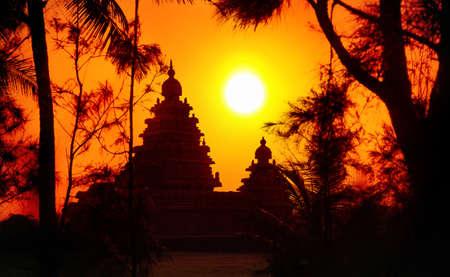 mamallapuram: Shore temple silhouette at sunset sky in Mamallapuram, Tamil Nadu, India