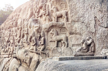 mamallapuram: Ancient basrelief with monkey statues and hindu deities in Mamallapuram, Tamil Nadu, India
