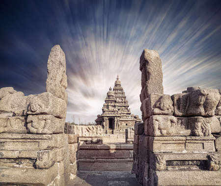 mamallapuram: Shore temple at blue dramatic sky in Mamallapuram, Tamil Nadu, India