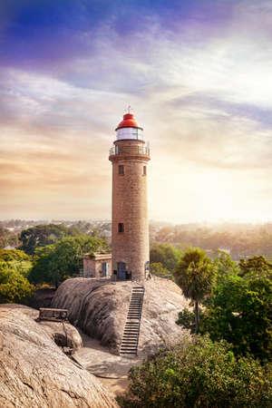mamallapuram: Lighthouse in tropical complex of Mamallapuram in Tamil Nadu, India