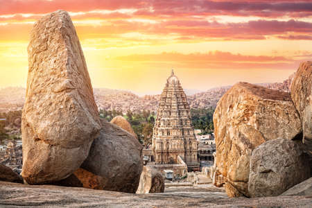 Virupaksha temple view from Hemakuta hill at sunset in Hampi, Karnataka, India Stock Photo