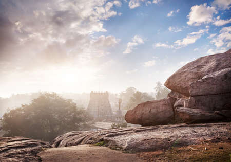mamallapuram: Hindu temple and stones in the morning in Mamallapuram, Tamil Nadu, India Stock Photo