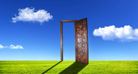 Opened wooden door on green grass at blue sky with white clouds photo