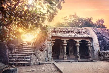 south india: Ancient cave with columns in Mamallapuram complex, Tamil Nadu, India