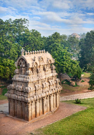 mamallapuram: Ancient temple in Mamallapuram complex, Tamil Nadu, India Stock Photo